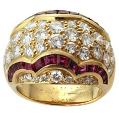 Van Cleef & Arpels Diamond Ruby Wave Ring