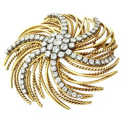 BOUCHERON 1960's Diamond Gold Swirl Brooch