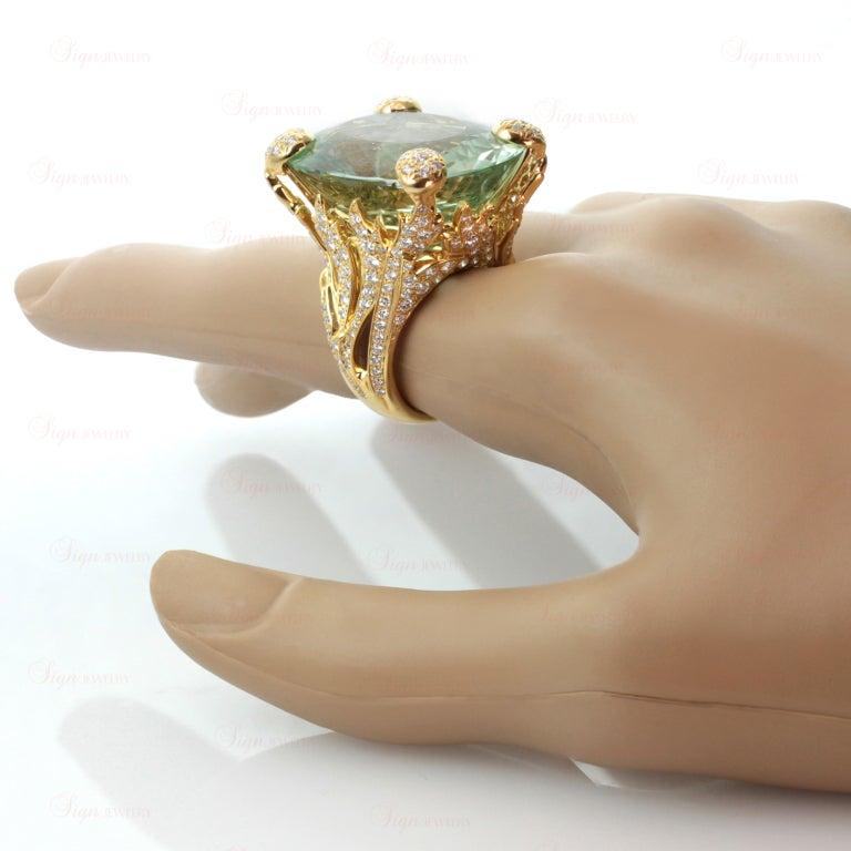 CHRISTIAN DIOR Aquamarine Diamond Large Green Ring For Sale 5
