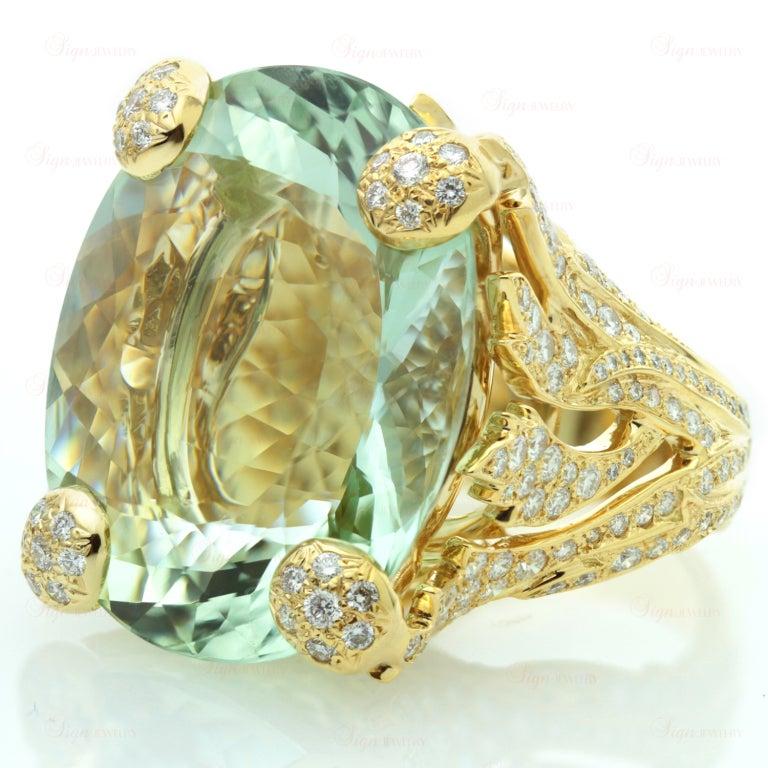Contemporary CHRISTIAN DIOR Aquamarine Diamond Large Green Ring For Sale