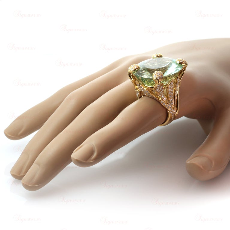 CHRISTIAN DIOR Aquamarine Diamond Large Green Ring In Excellent Condition For Sale In New York, NY