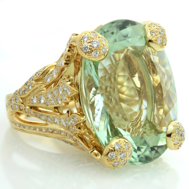 Women's CHRISTIAN DIOR Aquamarine Diamond Large Green Ring For Sale
