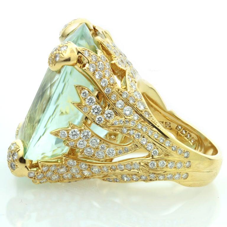 CHRISTIAN DIOR Aquamarine Diamond Large Green Ring For Sale 1
