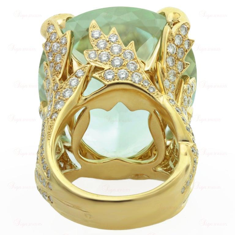 CHRISTIAN DIOR Aquamarine Diamond Large Green Ring For Sale 2