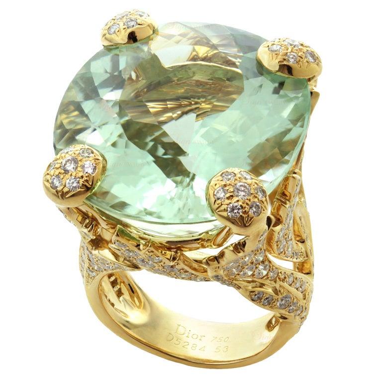CHRISTIAN DIOR Aquamarine Diamond Large Green Ring For Sale