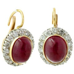 Natural Cabochon Oval Ruby Diamond Retro Earrings