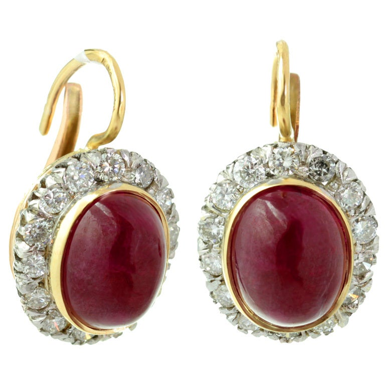 Natural Cabochon Oval Ruby Diamond Retro Earrings At 1stdibs