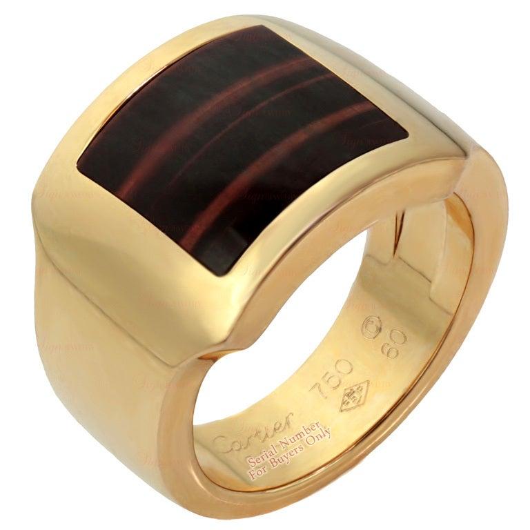 cartier tigers eye mens rose gold ring at 1stdibs