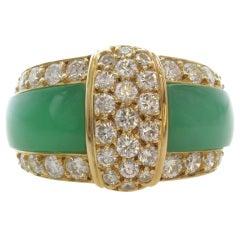 VAN CLEEF & ARPELS Green Rhodochrosite Diamond Gold Band