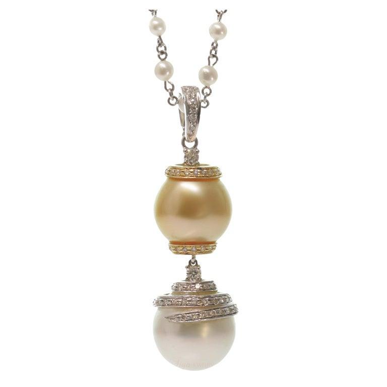 New Custom-Made Diamond Pearl Pendant Necklace