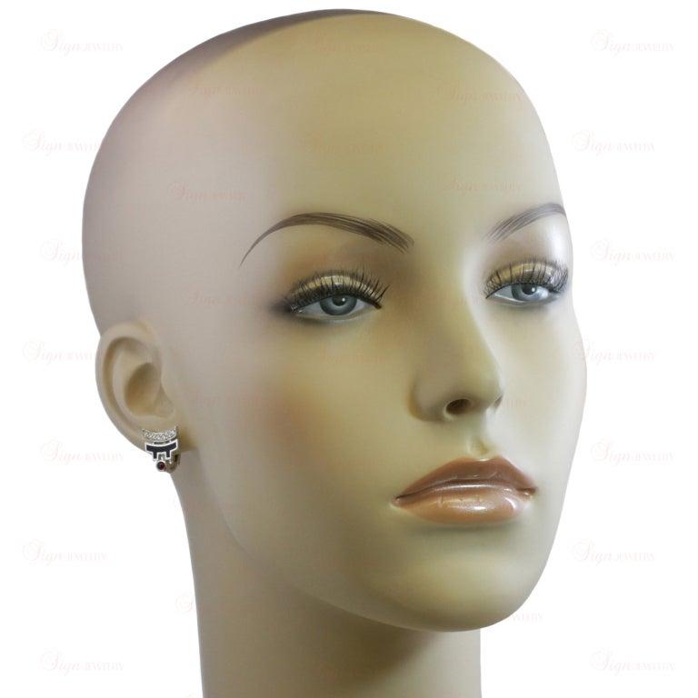 CARTIER Le Baiser Du Dragon Ruby Diamond Lacquer Earrings 4