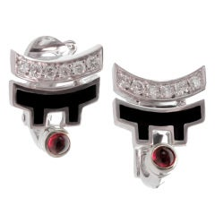 Cartier Le Baiser Du Dragon Ruby Diamond Lacquer Earrings