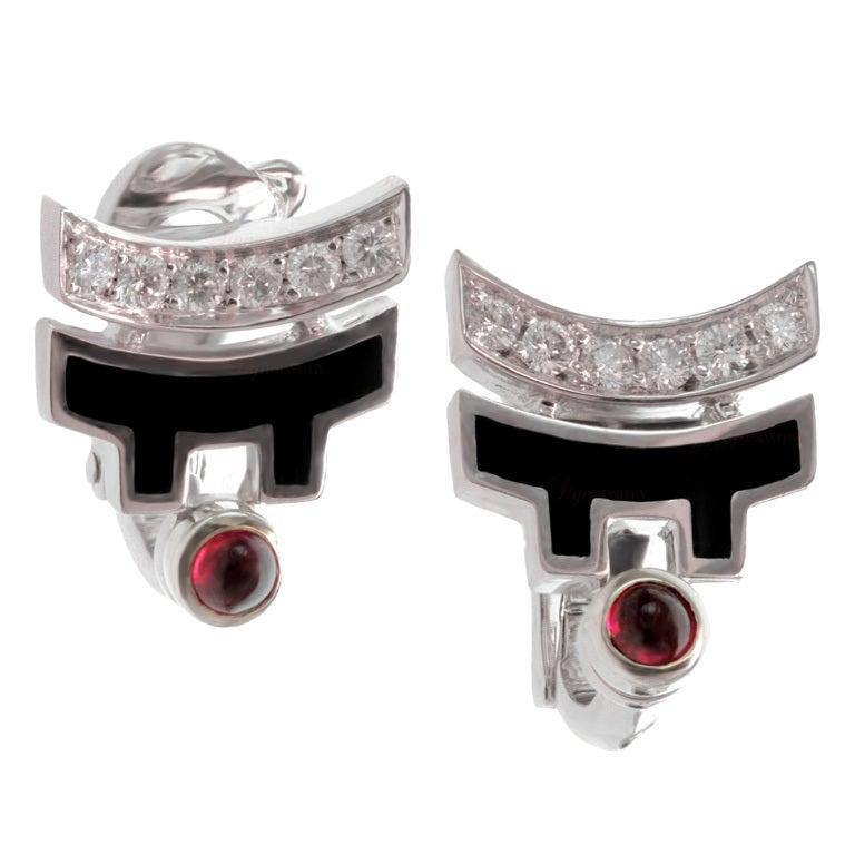 CARTIER Le Baiser Du Dragon Ruby Diamond Lacquer Earrings 1