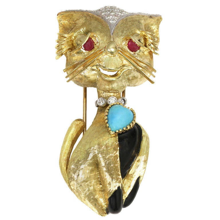 Cartier Ruby Diamond Cat With Turquoise Heart Gold Brooch