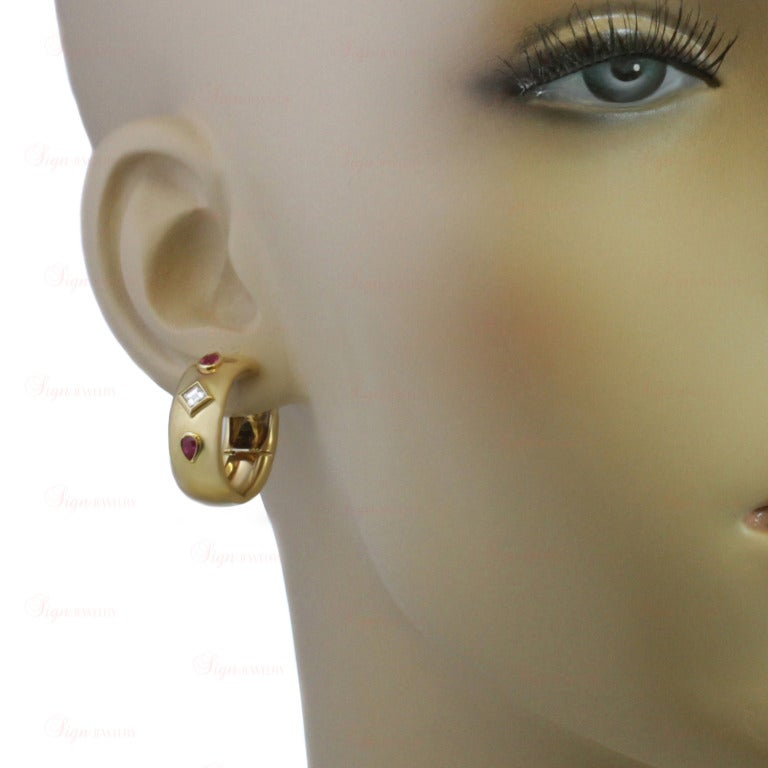 CARTIER Ruby Diamond Yellow Gold Ring & Earrings 4