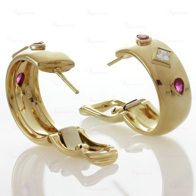 Cartier Ruby Diamond Yellow Gold Ring and Earrings For Sale 1