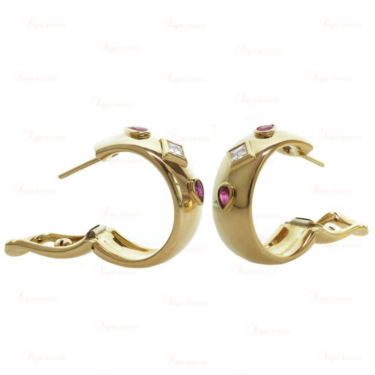 Cartier Ruby Diamond Yellow Gold Ring and Earrings For Sale 3