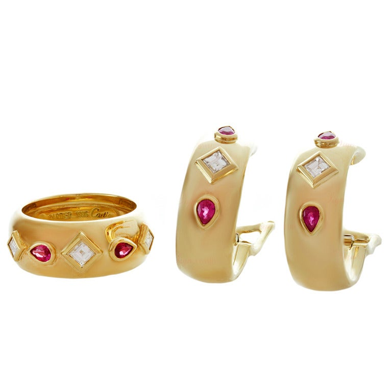 Cartier Ruby Diamond Yellow Gold Ring and Earrings For Sale