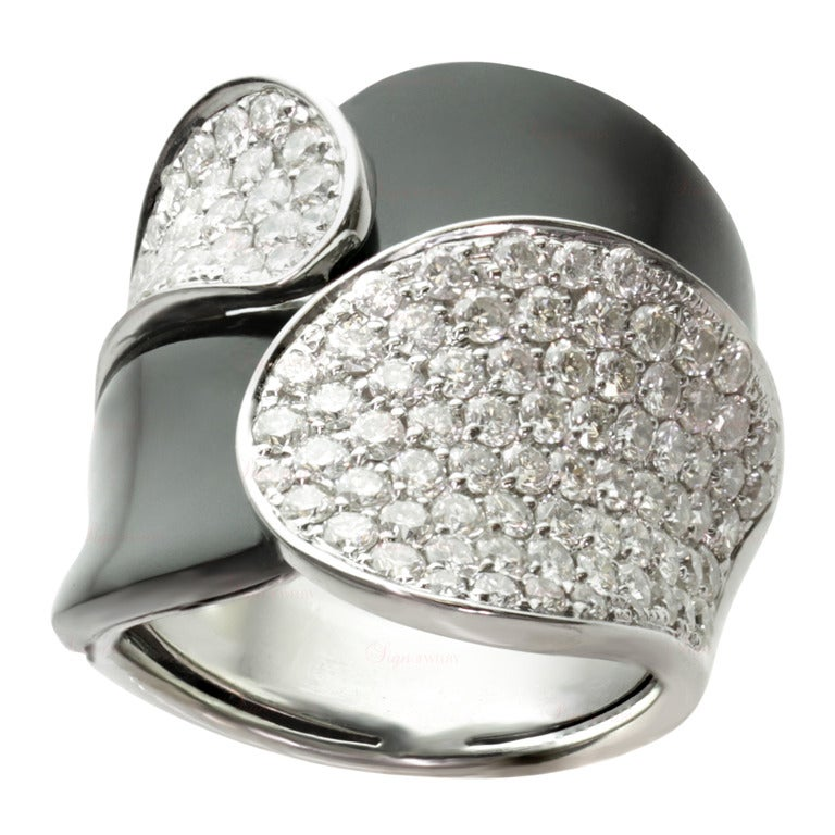 black onyx pave geometric white gold ring at 1stdibs