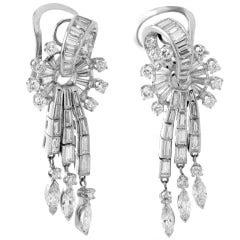 Retro Diamond Platinum Dangling Clip-On Earrings