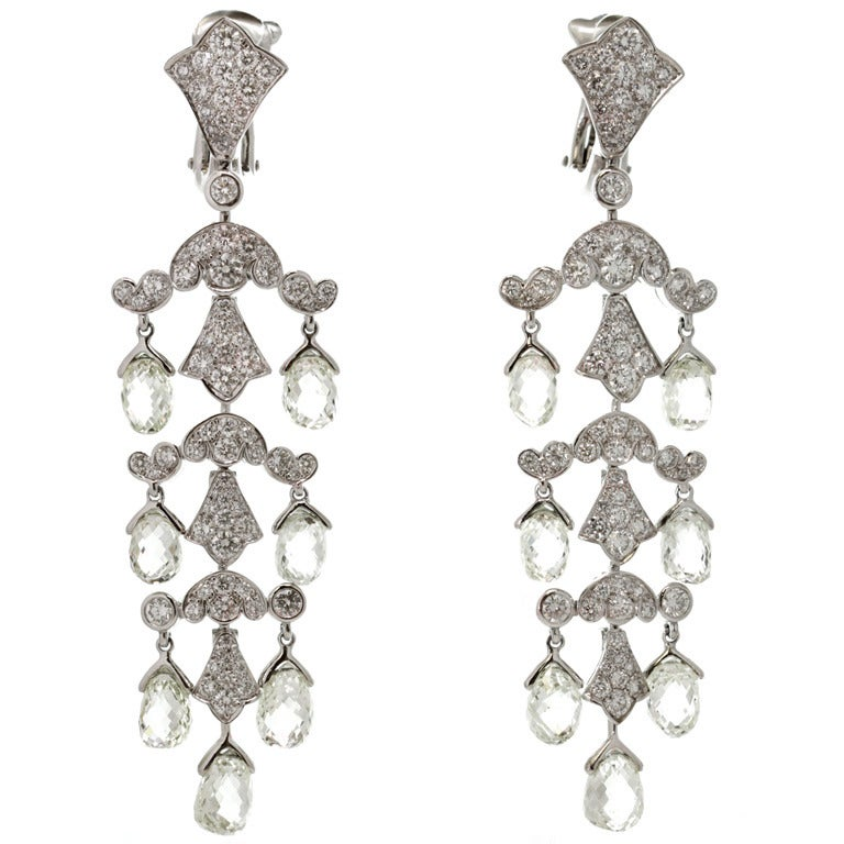 Red Diamond Chandelier Earrings: Cartier Magnificent Diamond Platinum Chandelier Earrings