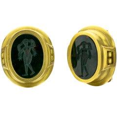 KIESELSTEIN-CORD Green Agate Intaglio Nymph Gold Earrings