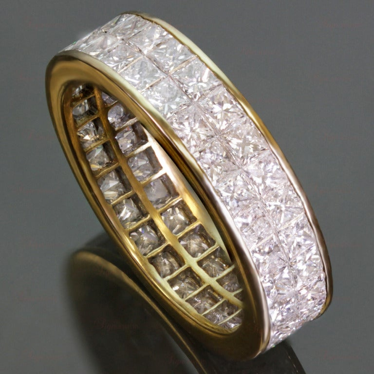 Diamond Princess Cut Invisible Setting Gold Eternity Band