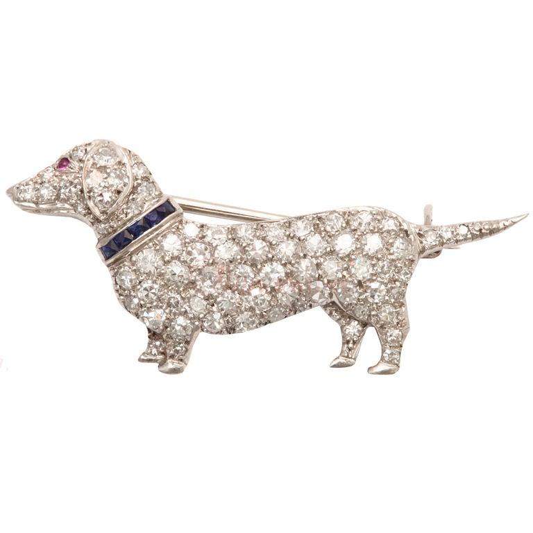 Cartier Art Deco Diamond Dachshund Dog Brooch At 1stdibs