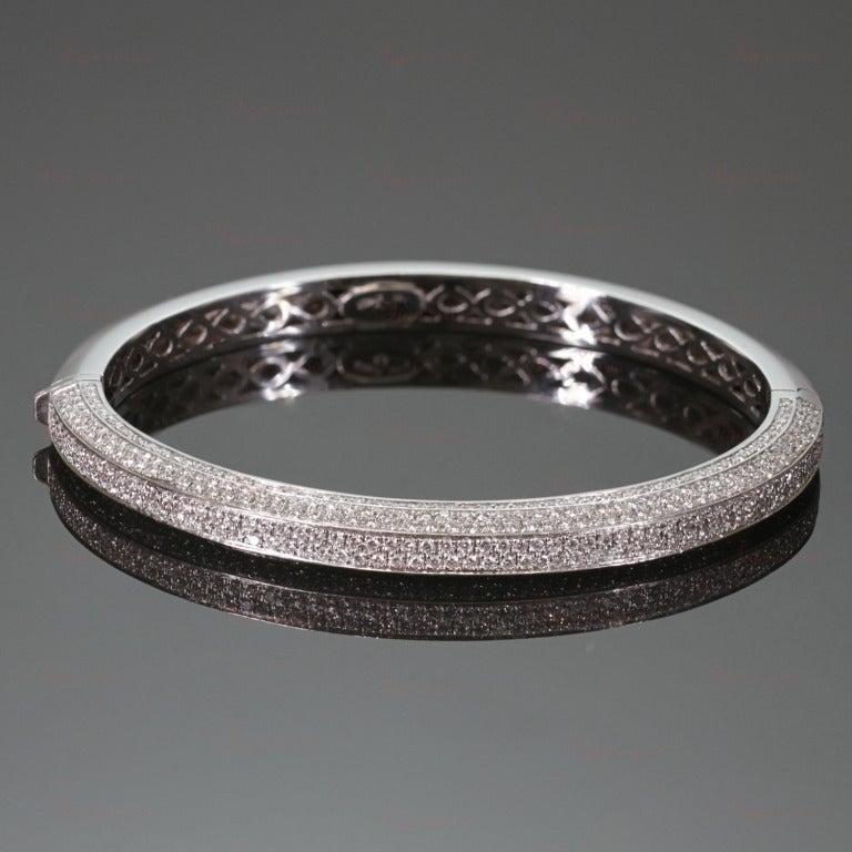 Italian Diamond White Gold Bangle Bracelet 2