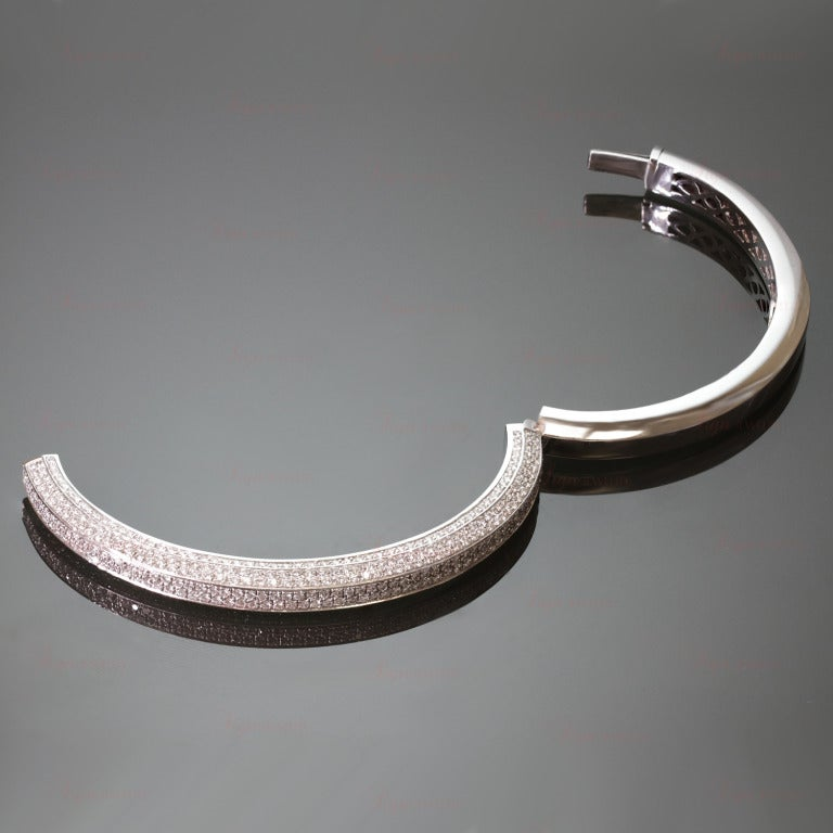Italian Diamond White Gold Bangle Bracelet 3