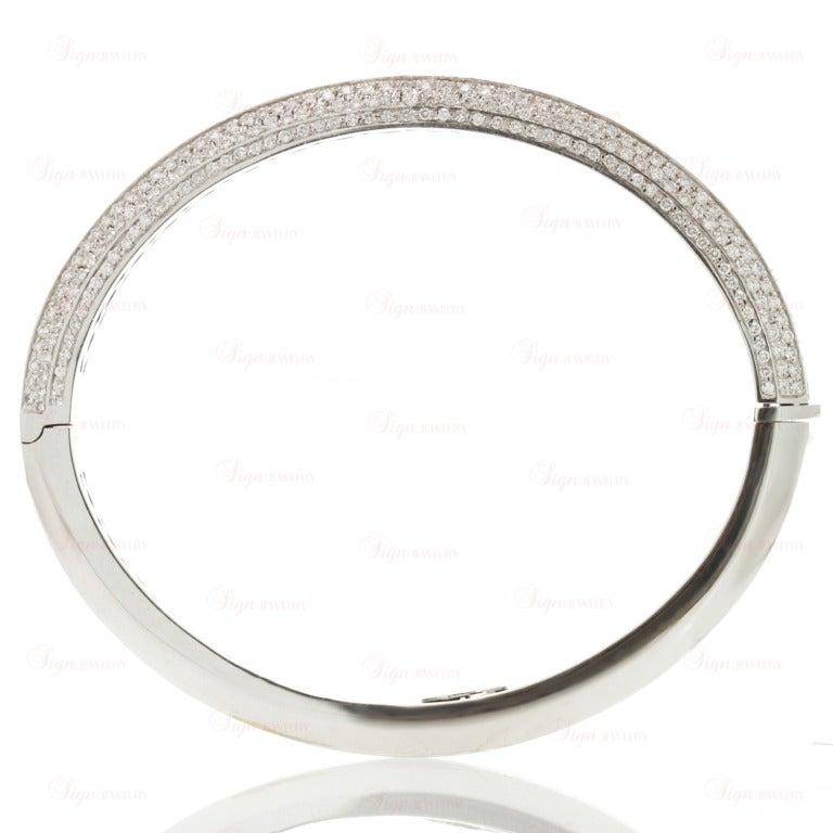Italian Diamond White Gold Bangle Bracelet 4