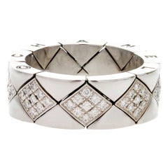 CHANEL Flexible Quilted Diamond White Gold Size 7 Ring