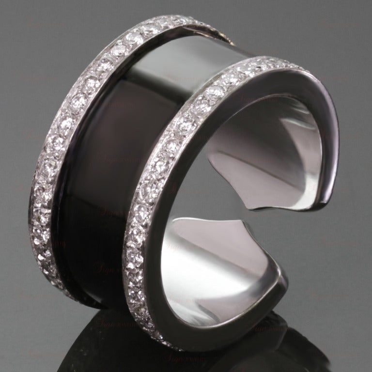 CARTIER Double C Diamond Black Lacquer White Gold 50 Ring Large Model 2