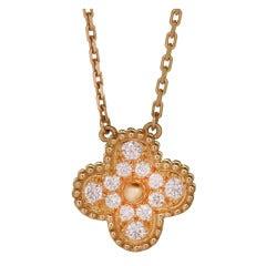 VAN CLEEF & ARPELS Vintage Alhambra Diamond Gold Pendant Necklace