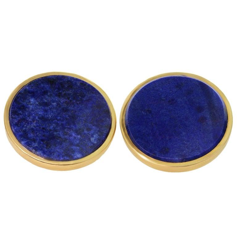 Bulgari Lapis Lazuli Round Gold Cufflinks At 1stdibs