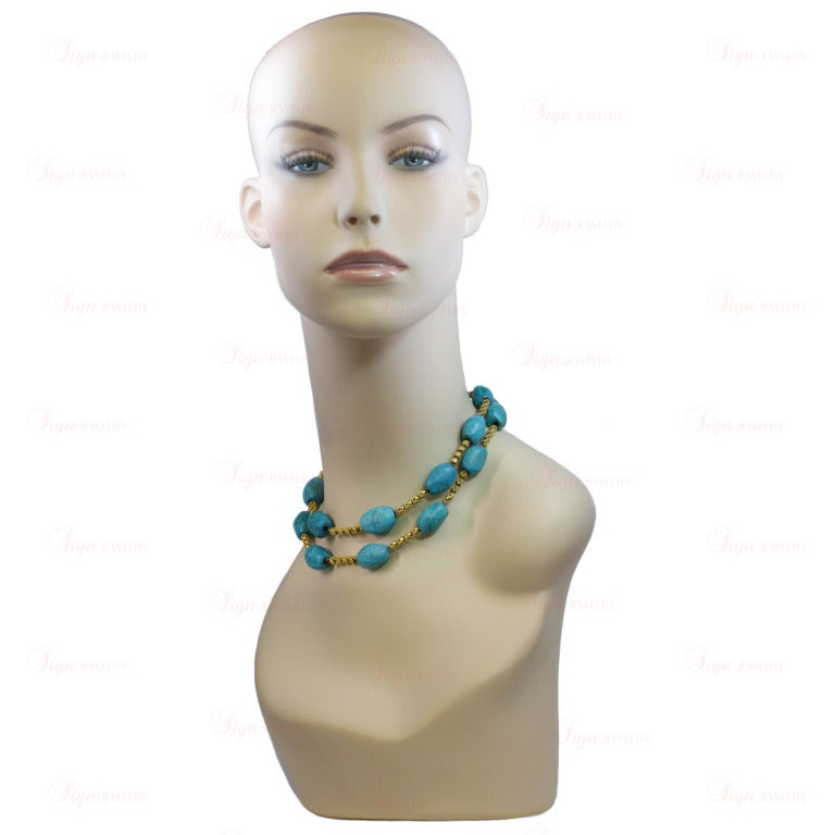 Pressed Turquoise Yellow Gold Long Link Necklace In Excellent Condition For Sale In New York, NY