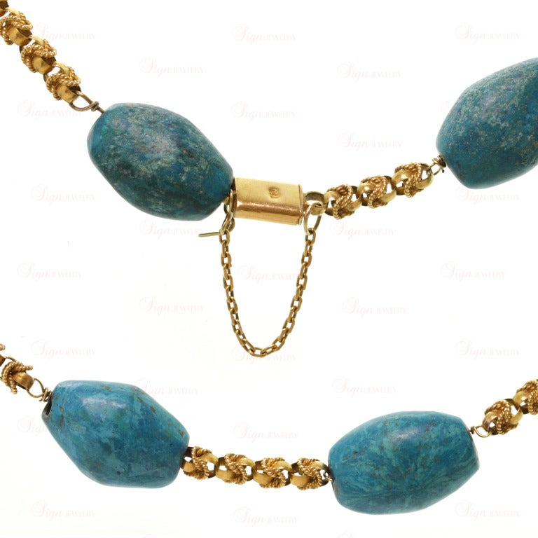 Women's Pressed Turquoise Yellow Gold Long Link Necklace For Sale