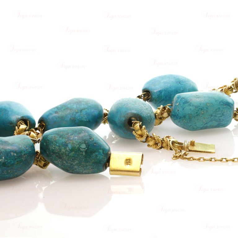 Pressed Turquoise Yellow Gold Long Link Necklace For Sale 1