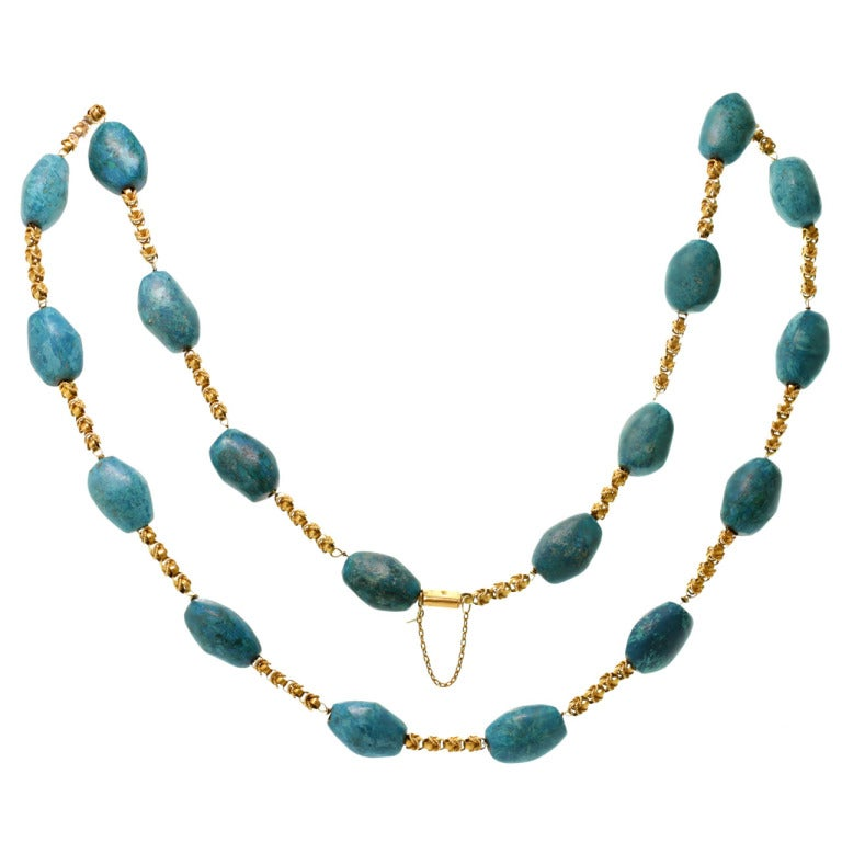 Pressed Turquoise Yellow Gold Long Link Necklace