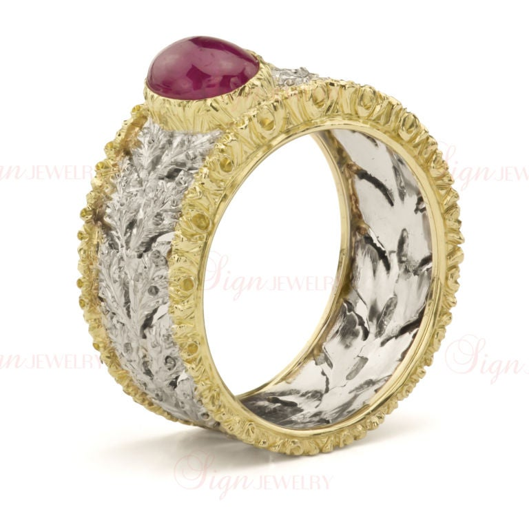 buccellati ruby leaf pattern white and yellow gold ring at
