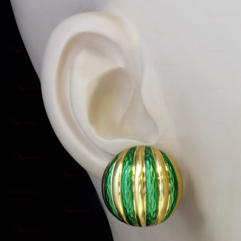 Tiffany & Co. Striped Green Enamel Yellow Gold Clip-On Earrings In Excellent Condition For Sale In New York, NY