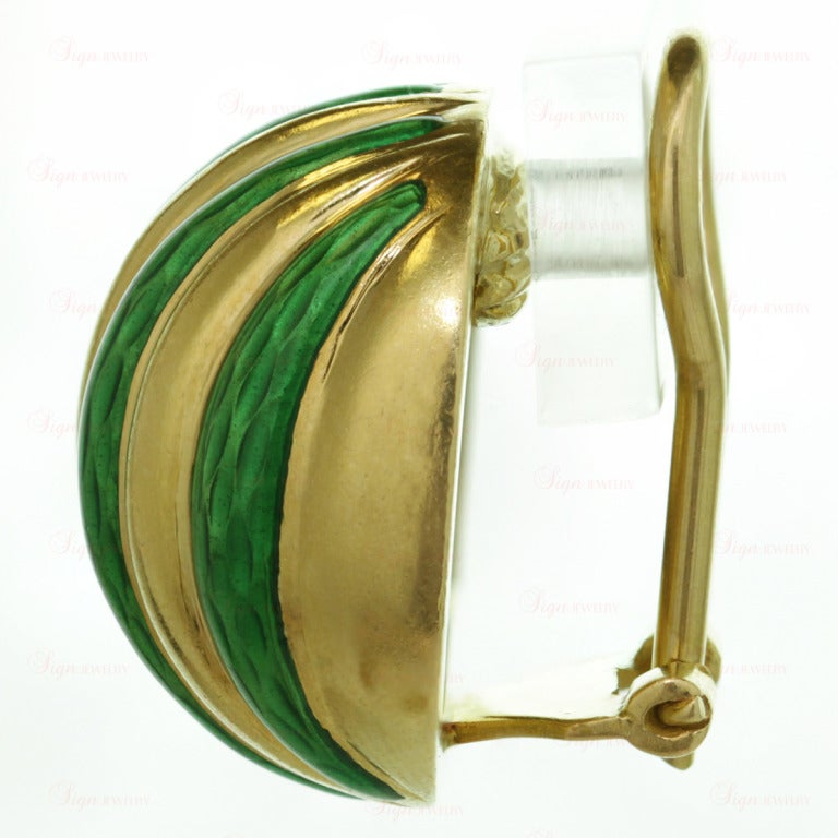 Tiffany & Co. Striped Green Enamel Yellow Gold Clip-On Earrings For Sale 1