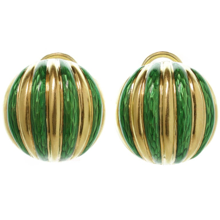 Tiffany & Co. Striped Green Enamel Yellow Gold Clip-On Earrings For Sale
