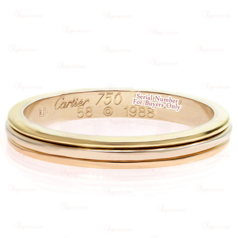 cartier tri gold size 58 wedding band ring at 1stdibs