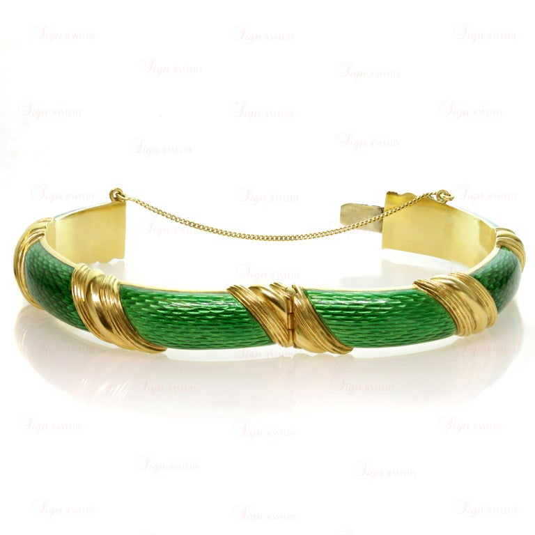 Tiffany & Co. Green Enamel Yellow Gold Striped Bangle Bracelet For Sale 1