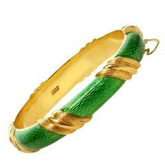 TIFFANY & CO. Green Enamel Yellow Gold Striped Bangle Bracelet