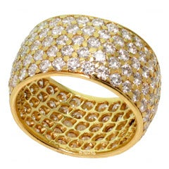 VAN CLEEF & ARPELS Five Row Diamond Yellow Gold Wide Eternity Band