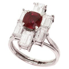 1980s Diamond Ruby Platinum Ring
