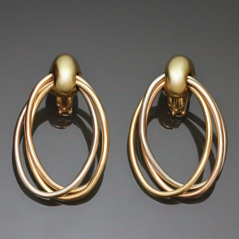 CARTIER 1990s Trinity Tri-Gold Oval Drop Hoop Earrings 2