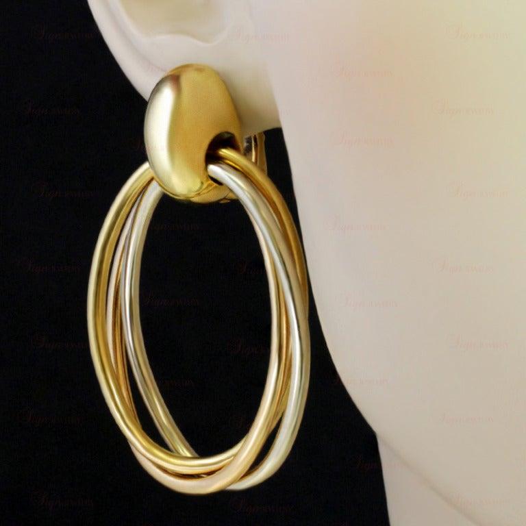 CARTIER 1990s Trinity Tri-Gold Oval Drop Hoop Earrings 3